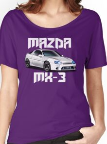 Mazda MX-3 (White car, big text)  Women's Relaxed Fit T-Shirt