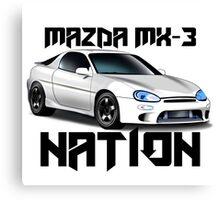 Mazda MX-3 NATION (Big text [black font])  Canvas Print