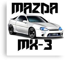 Mazda MX-3 (White font, big text)  Canvas Print