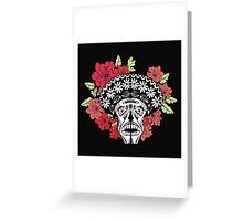Skull with red and pink flowers. Greeting Card