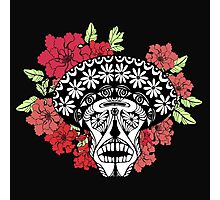 Skull with red and pink flowers. Photographic Print
