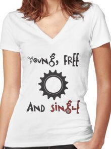 Young Free And Single Fixed Gear Tee Women's Fitted V-Neck T-Shirt