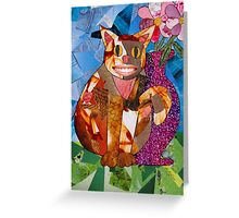 Happy Cat with Vase Greeting Card