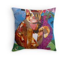 Happy Cat with Vase Throw Pillow