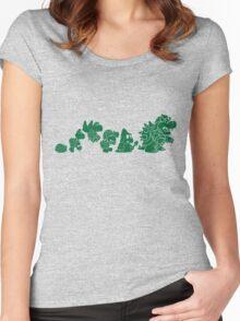 Reptilian Evolution in The Mushroom Kingdom (Green) Women's Fitted Scoop T-Shirt