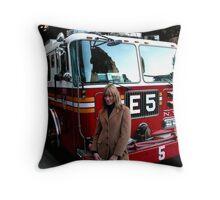 NYFD truck and girl Throw Pillow