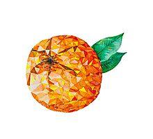 Low Poly Watercolor Orange Photographic Print
