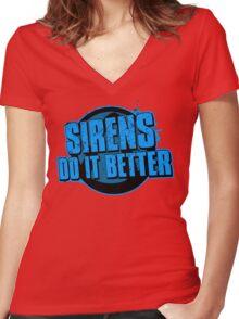 Sirens Do It Better (blue) Women's Fitted V-Neck T-Shirt