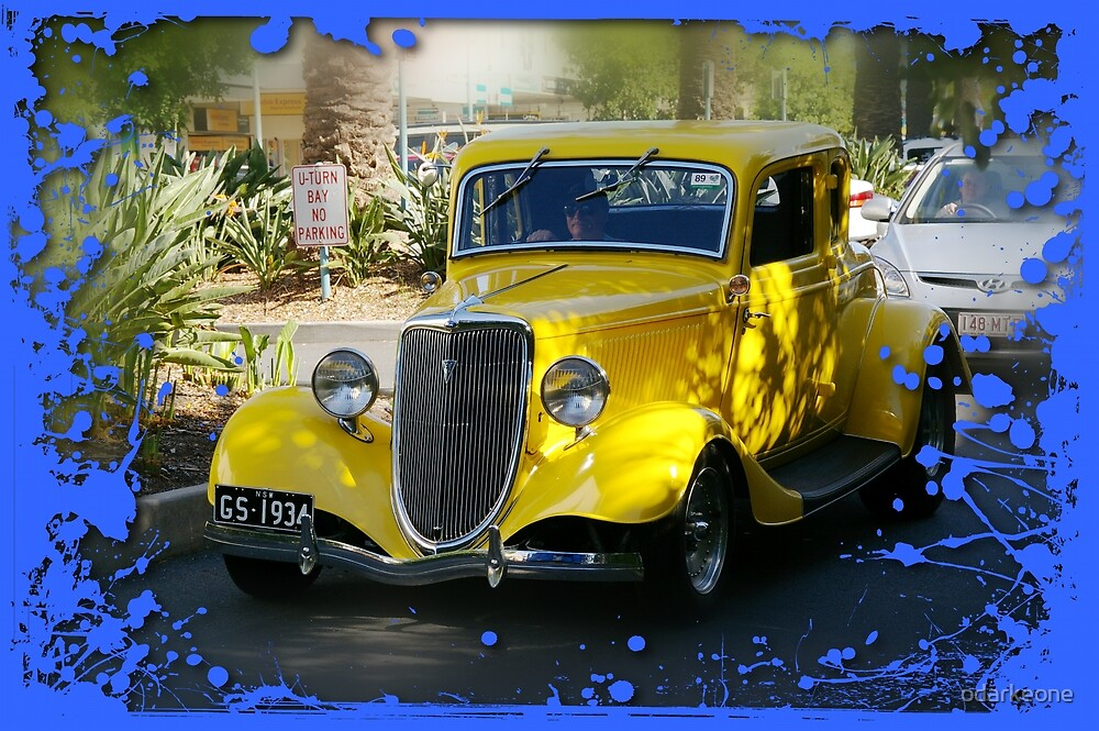 1934 Five Window Yellow Ford Coupe  by odarkeone