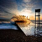 Crashing wave at sunset by dobseh