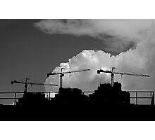 Triple cranes against the sky Photographic Print