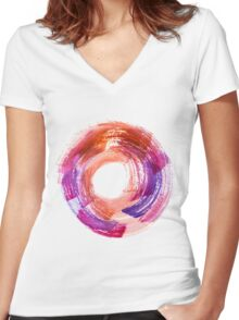 Abstract Watercolor Stroke  Women's Fitted V-Neck T-Shirt
