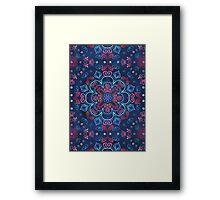Cherry Red & Navy Blue Watercolor Floral Pattern Framed Print