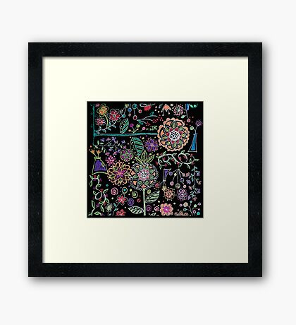 Folk Art Flowers Framed Print