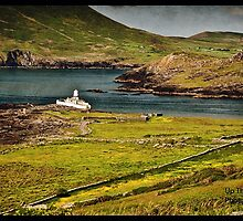 Rural Countryside Ring Of Kerry Scenic Nature Sunset Landscape Photography In Ireland. Grunge Texture Effect. by upthebanner