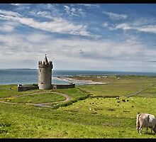 Rural Countryside Farm Scenic Nature Landscape Photography In Ireland. Doonagore Castle Doolin in County Clare. by Noel Moore Up The Banner Photography