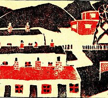 01 - COLLIERY SCENE - DAVE EDWARDS - LINO PRINT - 1965 by BLYTHART