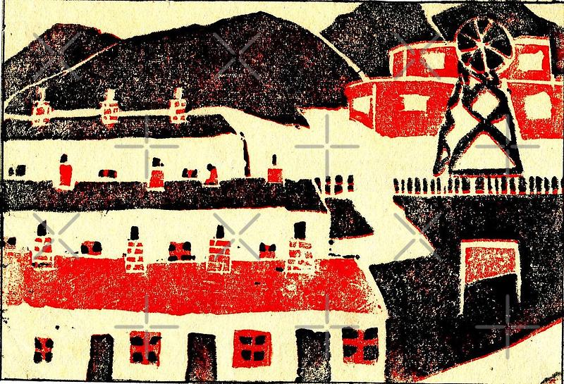 01 - COLLIERY SCENE - DAVE EDWARDS - LINO PRINT - 1965 by BLYTHART