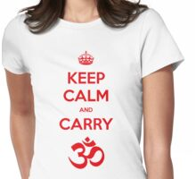 Keep calm and carry aum Womens Fitted T-Shirt