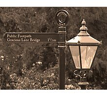 Gracious Old Sign and Lamp Photographic Print