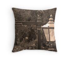 Gracious Old Sign and Lamp Throw Pillow