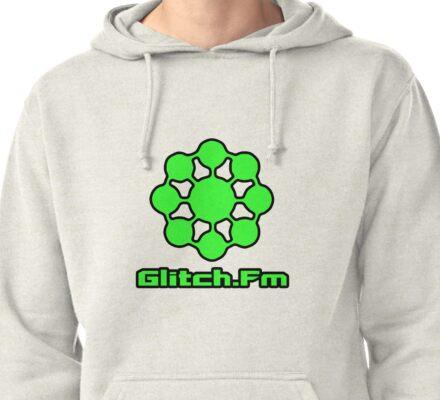 Glitch.Fm Logo - Green Pullover Hoodie