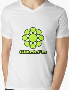 Glitch.Fm Logo - Bright Green Mens V-Neck T-Shirt