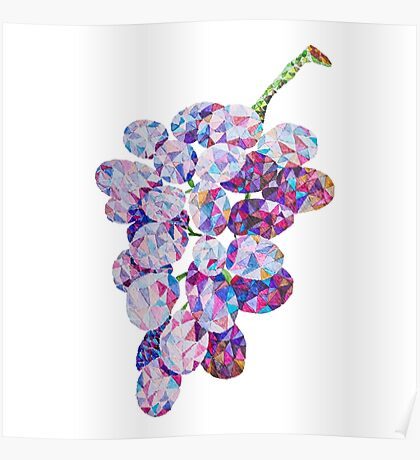 Low Poly Watercolor Grapes Poster