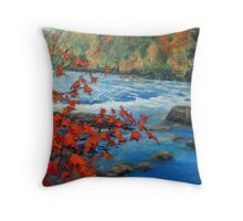 Fast Flowing - River in New England Throw Pillow