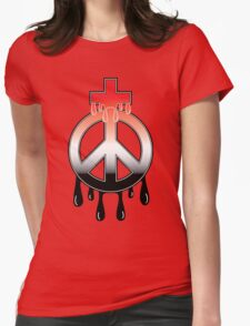 Peace Cross Womens Fitted T-Shirt