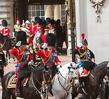 Prince Charles & Princess Anne on horseback. by Keith Larby