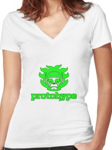 Protohype Logo - Green Women's Fitted V-Neck T-Shirt