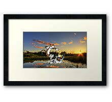 Calvin & Hobbes In The Pond Framed Print