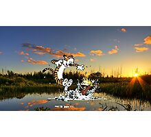 Calvin & Hobbes In The Pond Photographic Print