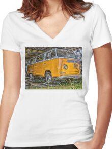 HDR Orange Volkswagen mini van Women's Fitted V-Neck T-Shirt