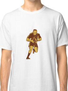 Rugby Player Running Ball Woodcut Classic T-Shirt