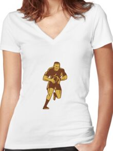 Rugby Player Running Ball Woodcut Women's Fitted V-Neck T-Shirt