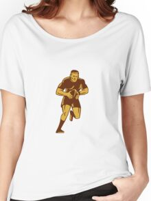 Rugby Player Running Ball Woodcut Women's Relaxed Fit T-Shirt