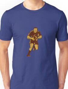 Rugby Player Running Ball Woodcut Unisex T-Shirt
