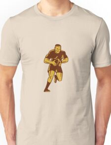 Rugby Player Running Ball Woodcut Unisex T-Shirt