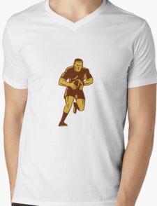 Rugby Player Running Ball Woodcut Mens V-Neck T-Shirt