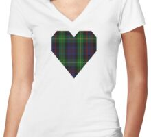 00539 Black Watch Plaid of Pipers Military Tartan  Women's Fitted V-Neck T-Shirt