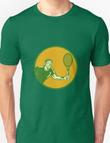 Tennis Player Forehand Circle Woodcut T-Shirt
