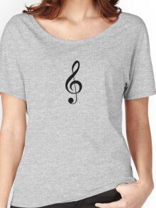 Black Treble Clef Design Duvet Cover Musician Quilt Women's Relaxed Fit T-Shirt