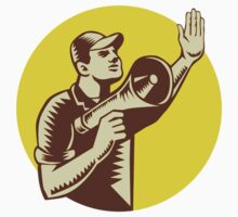 Worker Holding Megaphone Circle Woodcut by patrimonio