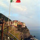 Manarola under the Italian Flag by Kent Nickell
