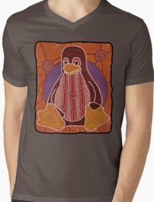 Tux (Solid background) Mens V-Neck T-Shirt