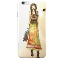 boho girl fashion design, illustation iPhone Case/Skin