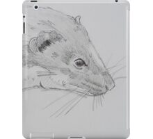 Weasel head side view pencil drawing iPad Case/Skin