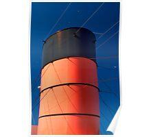 Center Smokestack of the Queen Mary (Long Beach, California) Poster